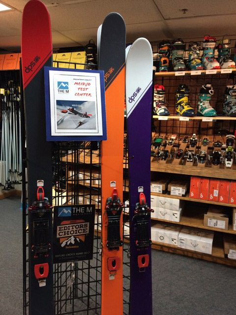 DPS skis mounted with Meidjo 2 available to test in Mountain Chalet shop in Colorado - USA